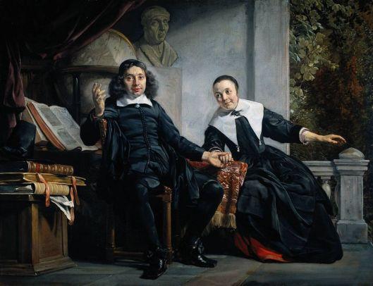 Abraham Casteleyn en zijn echtenote/compagnon Margaretha van Blanken door Jan de Bray, 1663. Op de achtergrond o.a. een borstbeeld van Lourens Janszoon Coster.