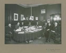 Gedeputeerde Staten van Noord-Holland op 14 mei 1930 met o.a. J.B.Bomans, A.W,.Michels, A.H.Gerhard, baron A.Röell (commissaris) en P.J.M.Verschure,