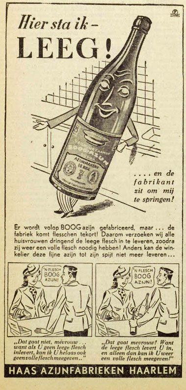 Reclame Haas' Azijnfabrieken Haarlem uit 1941.