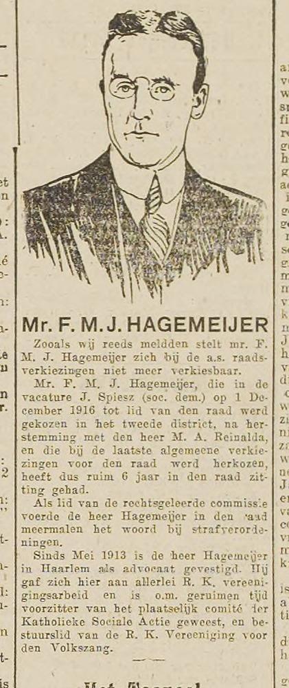 Mr.F.M.J.Hagemeijer.Uit: Haarlem's Dagblad van 2-12-1916