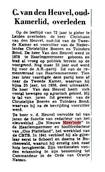 Bericht van overlijden Chris van den Heuvel uit de Leeuwarder Courant van 3 maart 1959