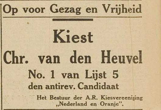 Advertentie Chr. van den Heuvel te stemme. Uit: Haarlem's Dagblad van 2 juli 1929