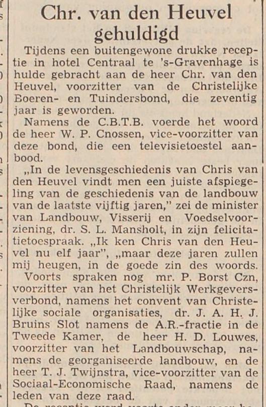 Viering 70-jaar Chris van den Heuvel. Uit: Haarlems'Dagblad van 14 februari 1957
