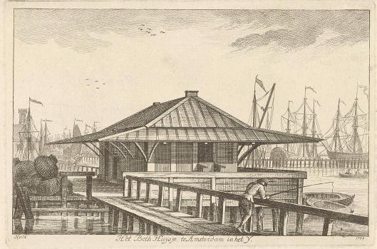 Het botenhuis in Amsterdam bij het IJ. Prent van HvH= Hendrik van Hilten