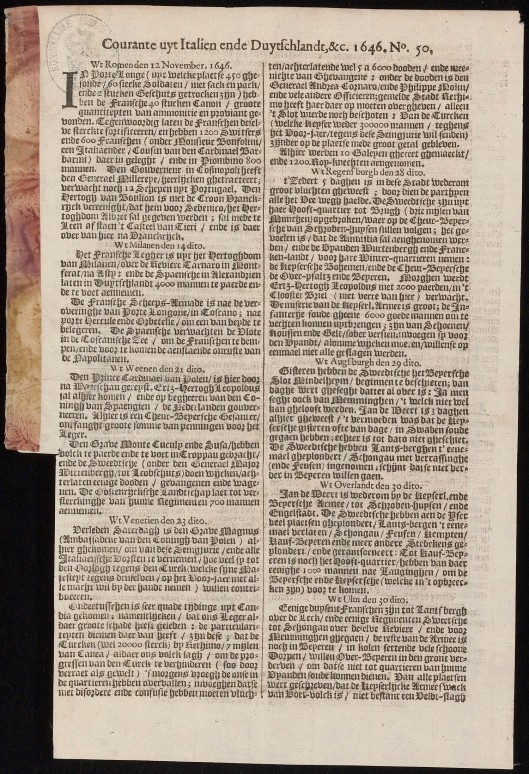 Courante uyt Italien, Duytschlandt, etc. van courantier Jan van Hilten