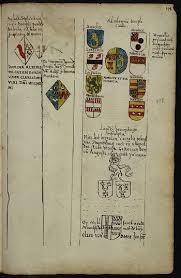 In de tweede kolom staat: 'de wapenen van de huisfrou van de secretaris van Hilten, Joffrou Joanna Martens. (Uit: Monumenta Aernout van Buchel, pagina 278, Utrechts Archief).