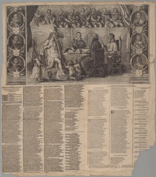 Zinnebeeld op godsdiensttwisten. Plano uitgegeven door Jan van Hilten, 1636. Met Nederlandse en Latijnse bijschriften en met een Nederlands en Duits gedicht (Koninklijke Bibliotheek Den Haag)