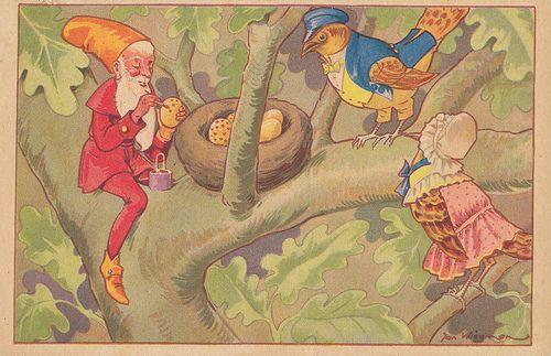 Kabouter bij een vogelnestje in een boom; door Jan Wiegman, 1946