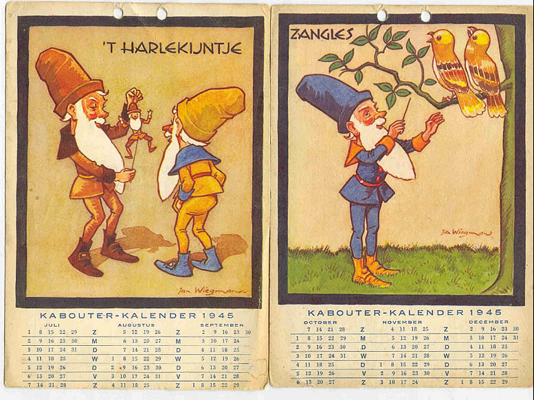 Kabouter-kalender van Jan Wiegman uit 1945.