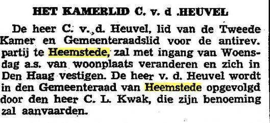 Opvolging van Chr.van den Heuvel als gemeenteraadslid in Heemstede door C.L.Kwak (Het Vaderland, 27-1-1935)