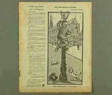 Cartoon van Bomans in de lantaarnpaal geklommen om overdag een gaslamp te doven. In: De Notenkraker van 13 december 1919).
