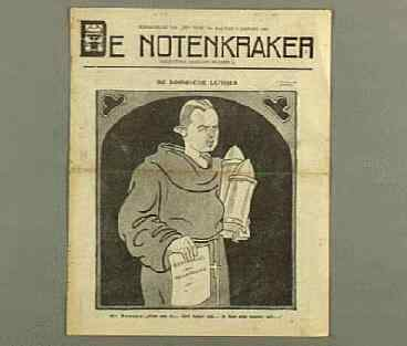 Mr.J.B.Bomans in zijn rol als de Roomsche Luther. In: de Notenkraker van 10 januari 1920, getekend door L.J.Jordaan.