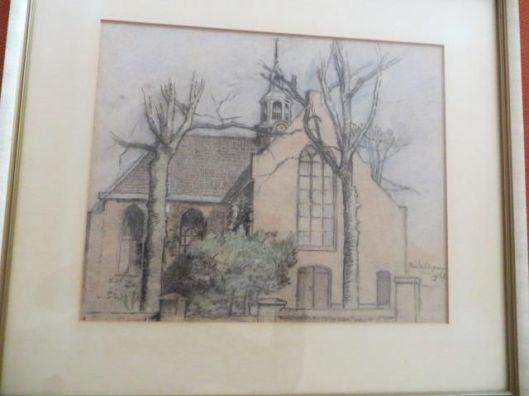 Tekening van Oude Kerk Heemstede uit 1963 door Jan Wiegman