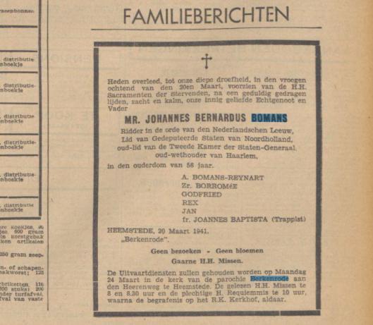 Overlijdensadvertentie J.B.Bomans uit De Tijd van 20 maart 1941. Begrafenis is gewijzigd in St.Barbara-kerkhof Haarlem