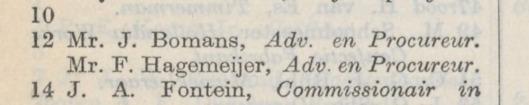 Mr.F.Hagemeyer en mr.J.B.Bomans als adsvocaten-procureurs, Patklaan 12 (Kenaupark) Haarlem. Adresboek 1913