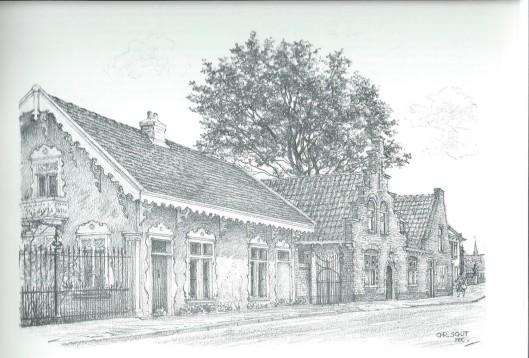 Tekening van Chr. Schut uit 1989 met links Binnenweg 8, voormalige tuinmanswoning in chaletstijl van Huis te Bennebroek uit 1856 en rechts daarvan met trapgevel: Binnenweg 10. Beide panden zijn in Bloemendaal geregistreerd als gemeentelijke monumenten.