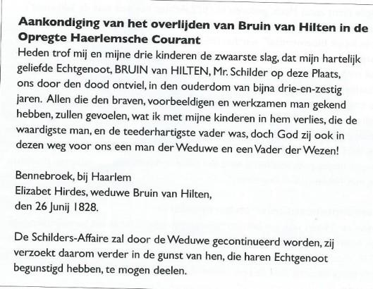 Berichtgeving van overlijden Bruin van Hilten uit de Oprechte Haarlemsche Courant