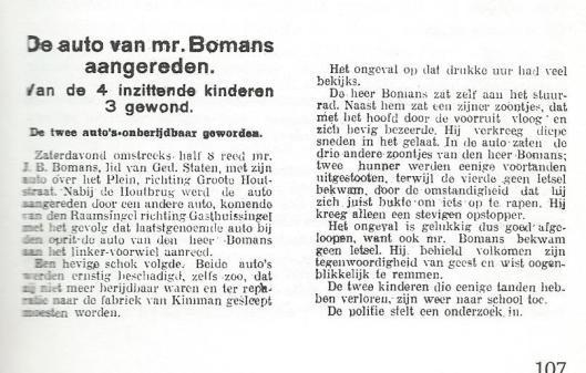 Een auto-ongeval van J.B.Bomans met goede afloop (Uit: Godfried achteraf bekeken, p. 107).