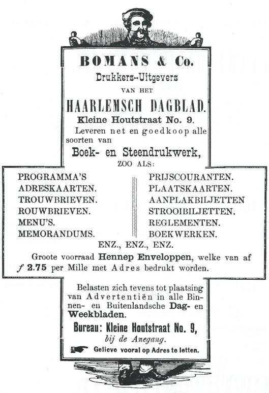 Bomans & Co. Advertentie uit Haarlemsch Dagblad van 11 september 1883