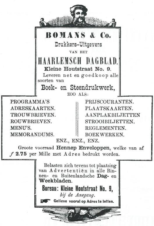 Bomans & Co. Advertentie uit Haarlemsch Dagblad van 11 september 1883