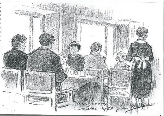 Jan Wiegman, tekening in lunchroom van V & D Haarlem uit schetsboek 1957