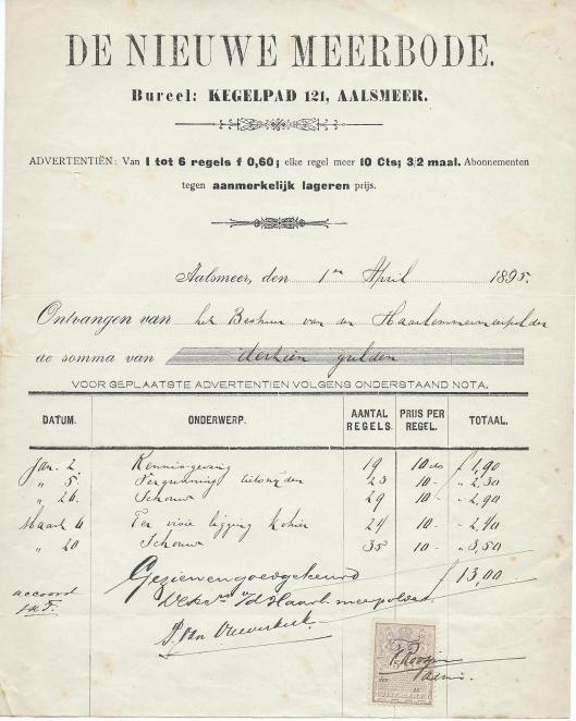 Kwartaalnota 1-1 tot 1-4 1895 van De Nieuwe Meerbode aan het bestuur van de Haarlemmermeerpolder