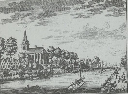 De Vecht in Nederhorst den Berg met links de Hervormde Kerk. Uit: De Vechtstroom van Utrecht tot Muiden door Abraham Rademaker, 1741.