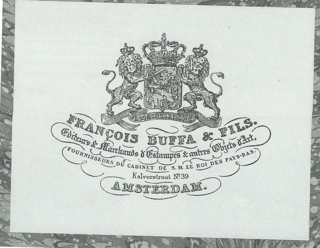 Etiket van Frans Buffa & Zonen. De firma heeft gestaan van circa 1785 tot 1951. Zie artikel in: de Boekenwereld van december 2006, p. 50-66.