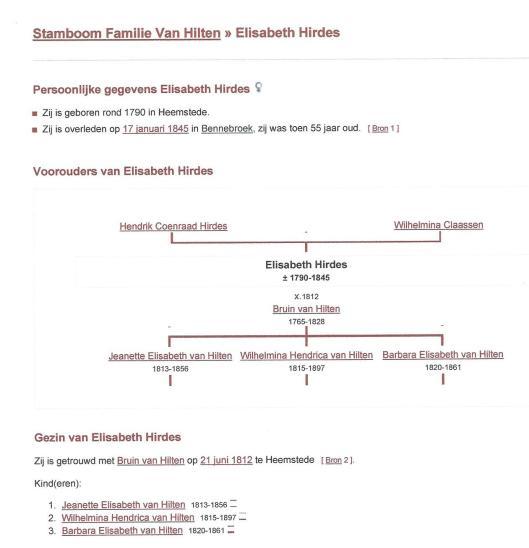 Fragmentgenealogie Bruin van Hilten x Elisabeth Hirdes. Uit: Genealogie Online.