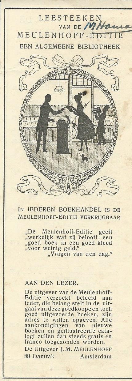 Leesteken Meulenhoff met prentje van Jan Wiegman