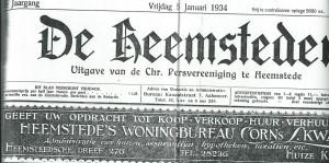 Kop van 'De Heemsteder', vrijdag 5 januari 1934, nummer 434 met advertentie van Heemstede's woningbureau Cornelis Kwak. De eigenaar volgde Van den Heuvel in 1935 op als A.R.P.raadslid in Heemstede
