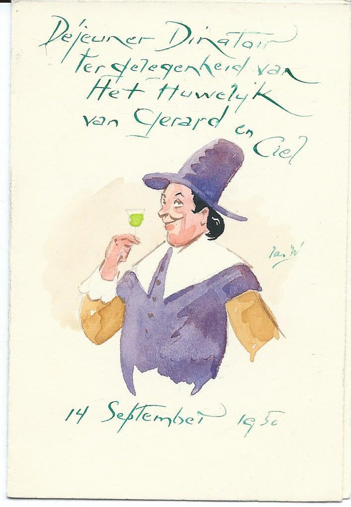 Voorzijde menukaart 14 maart 1950 voor de heer H.v.d.Bos, door Jan Wiegman