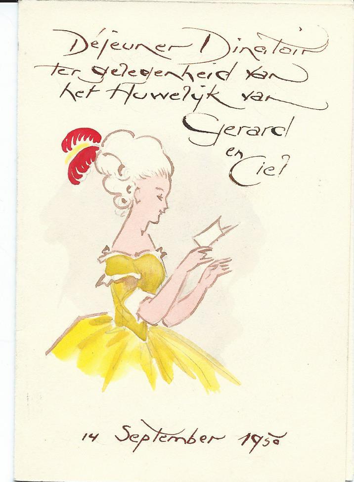 Voorzijde menukaart 14 september 1950 voor mw. Paula v.d.Bos-Wiegman