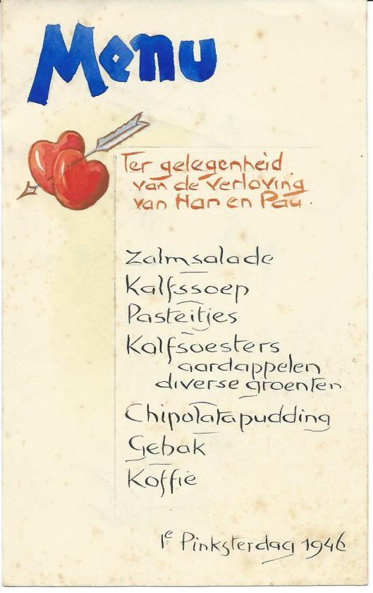 Voorzijde menukaart 1e Pinksterdag 1946 door Jan Wiegman