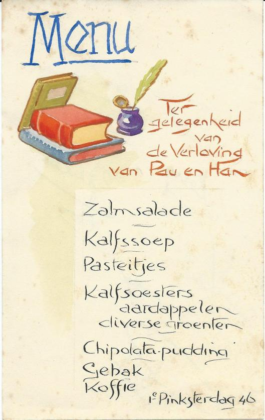 Voorzijde menukaart verloving van pau en Han, 1e Pinksterdag 1946, door Jan Wiegman