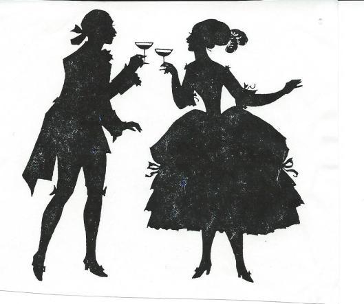 Jan Wiegman: silhouet van een proostend paartje