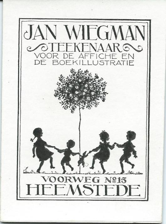 Reclameplaatje van Jan Wiegman uit circa 1920