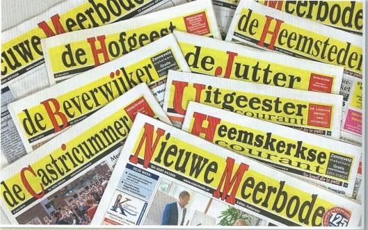 Alle kranten van Nieuwe Meerbode. Editie 1 omvat Aalsmeer, Aalsmeerderbrug, Kudelstaart, Bovenkerk, Oude Meer, Rijsenhout, Rozenburg. Editie 2: De Ronde Venen, Amstelhoek, De Hoef, Mijdrecht, Wilnis, Vinkeveen, Vrouwenakker, Waverveen, Zevenhoven. Editie 3: Uithoorn, De Kwakel. De Heemsteder: Heemstede, Bennebroek, Haarlem-Zuid. De Schoter: Haarlem-Noord, Spaarndam. De Hofgeest: Velserbroek, Velsen-Zuid, Santpoort-Noord, Santpoort-Zuid, Driehuis, Spaarnwoude. De Jutter: IJmuiden, Velsen. De Beverwijker: Beverwijk, Wijk aan Zee. Heemskerkse Courant: Heemskerk, De Castricummer: Castricum, Bakkum, Limmen, Akersloot. Uitgeester Courant: Uitgeest.