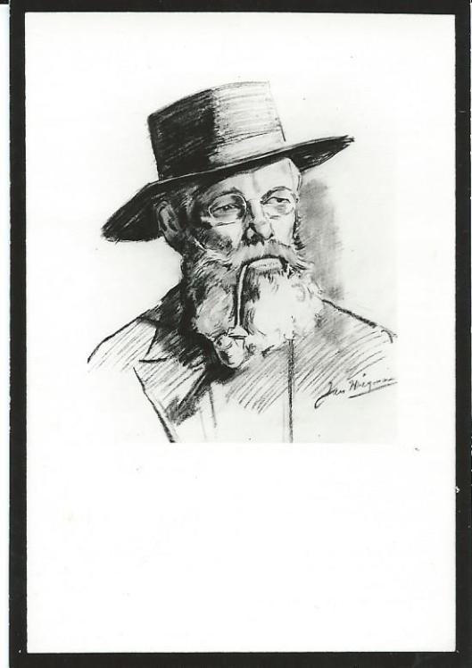 Getekend portret door Jan Wiegman voor bidprentje M.P.Hersman