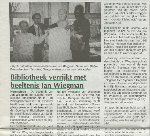 Schenking borstbeeld Jan Wiegman, vervaardigd door