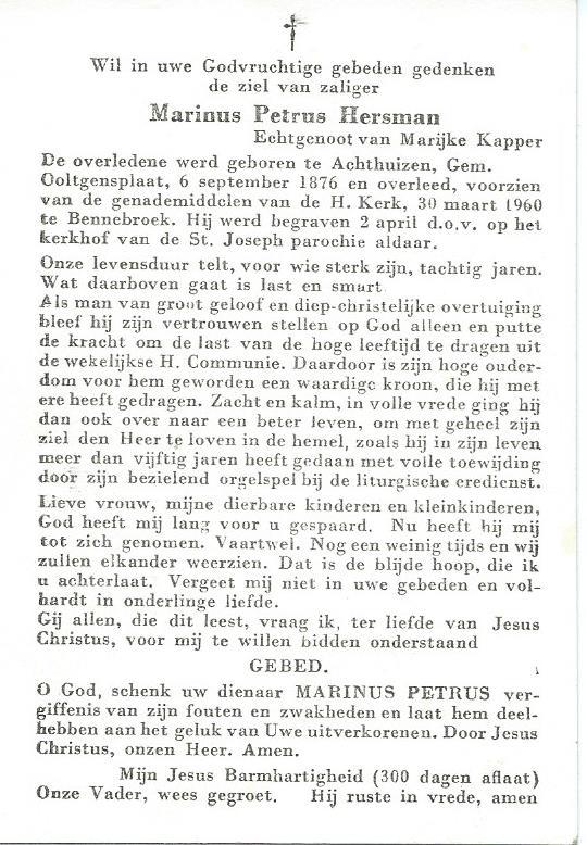 Keerzijde bidprentje Marinus Petrus Hersman