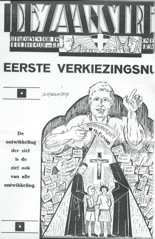Propagandablad om mr. Bomans te stemmen uit de Zaanstreek