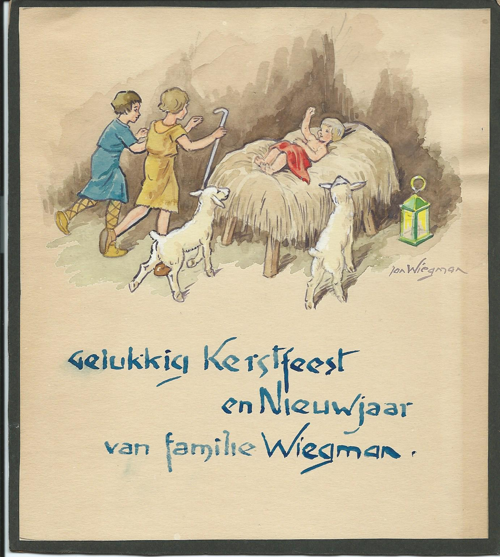 Een originele Kerst- en Nieuwjaarskaart, vervaardigd door Jan Wiegman