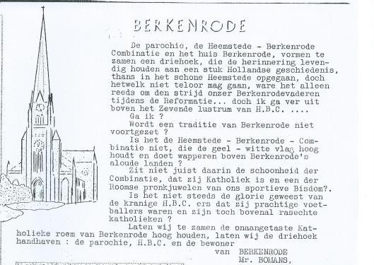 Me. Bomans over H.B.C. als voetbalclub in het parochieblad Berkenrode van october 1937.