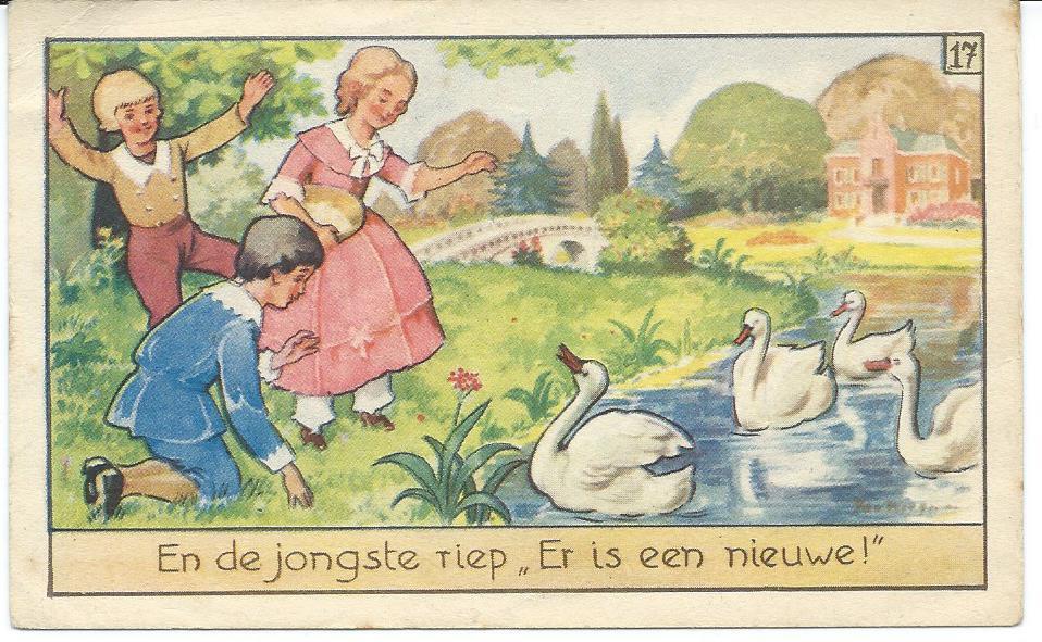 Jan Wiegman: plaatje uit Haas' Azijnfabrieken. Zevende album: nr. 17 Het lelijke jonge eendje.