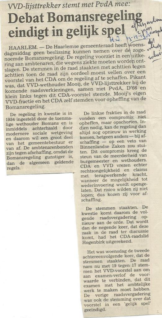 Debat Bomansregeling, uit: Haarlems Dagblad van 19-12-1985