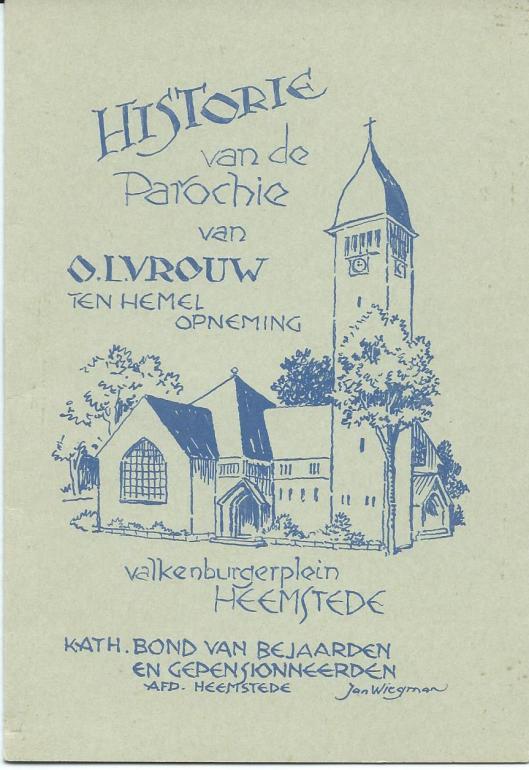 Door Jan Wiegman getekend boekje over de historie van O.L.Vrouw ten Hemelopnening kerk (Voorzijde)