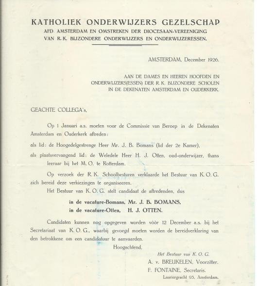 Convocatie van Katholiek Onderwijhzers Gezelschap, afd. Amsterdam en omstreken, december 1926.
