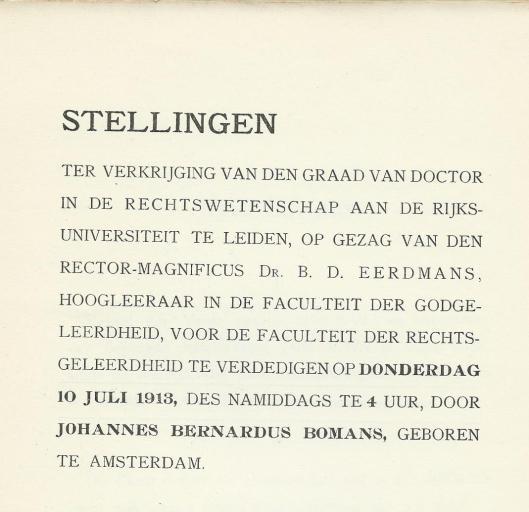 Titelblad van stellingen J.B.Bomans Universiteit Leiden 1913