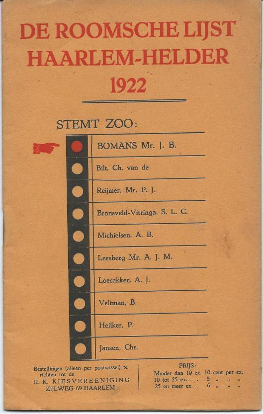Voorzijde brochure De Roomsche lijst Haarlem-Helder 1922